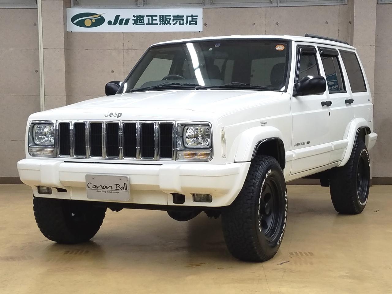 LTD ボディリフトUP 黒本革シート&ウッドインテリア ビルトイン式SDナビ一体機&Bluetooth【XJ型Jeep最終モデル】【1ナンバー登録済み車】
